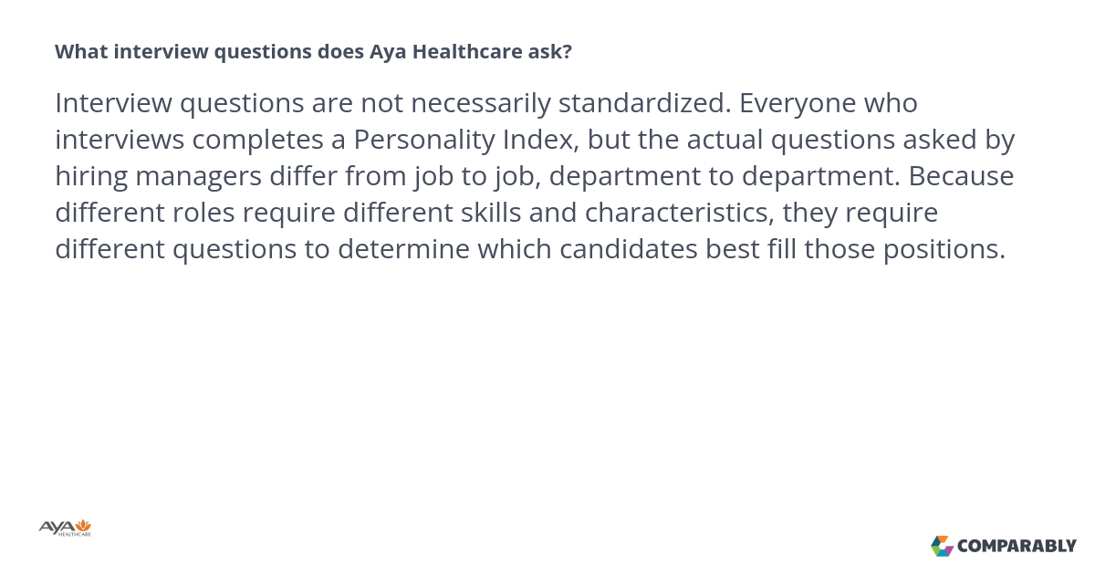 what interview questions does aya healthcare ask aya healthcare questions comparably