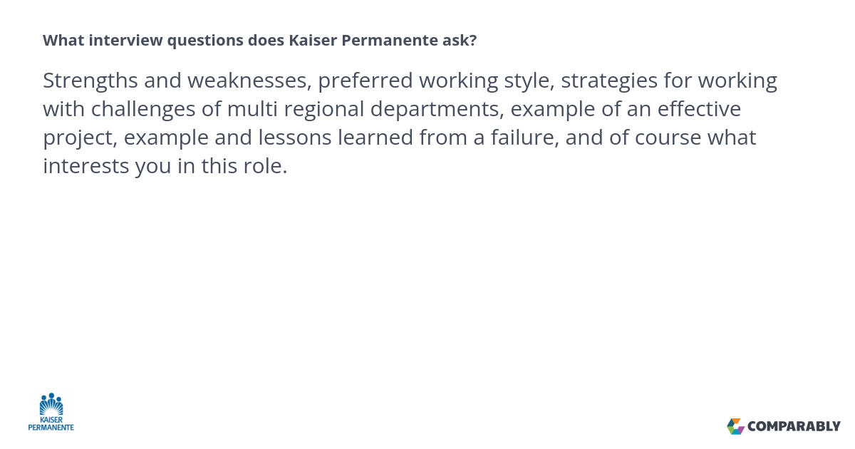 What interview questions does Kaiser Permanente ask