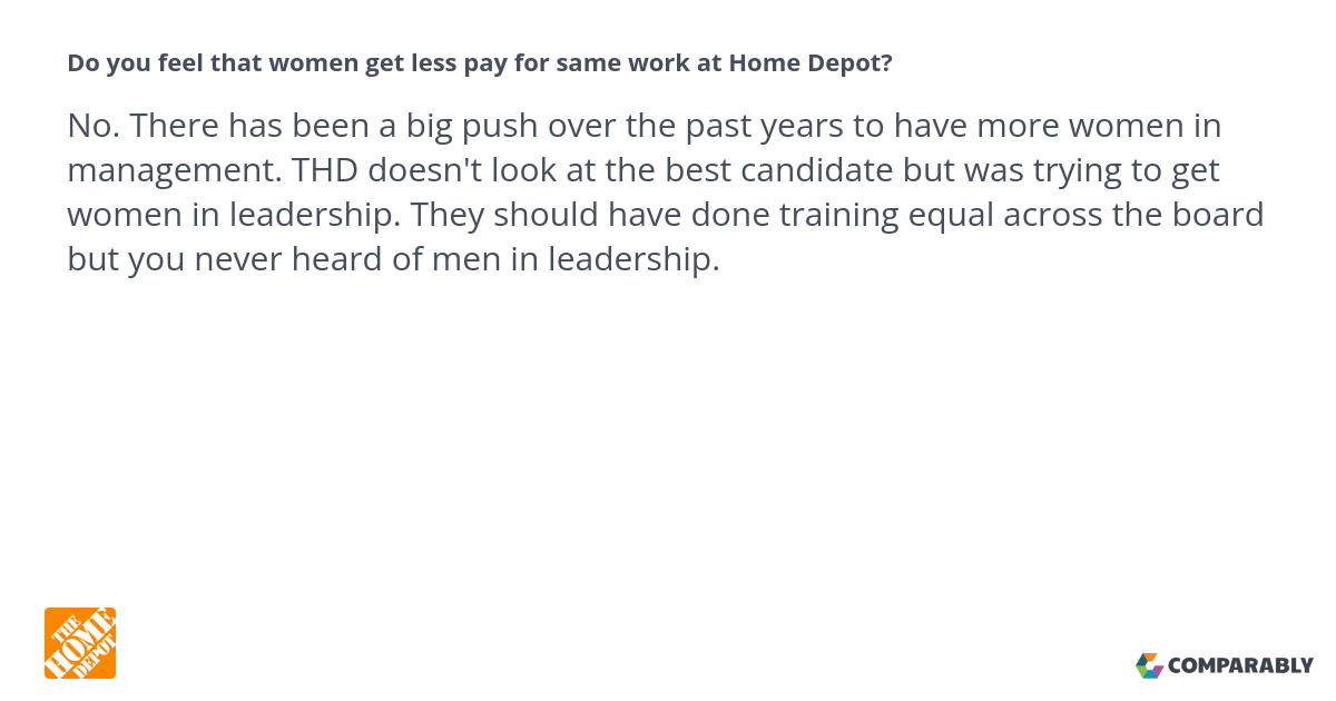 Do you feel that women get less pay for same work at Home Depot ...