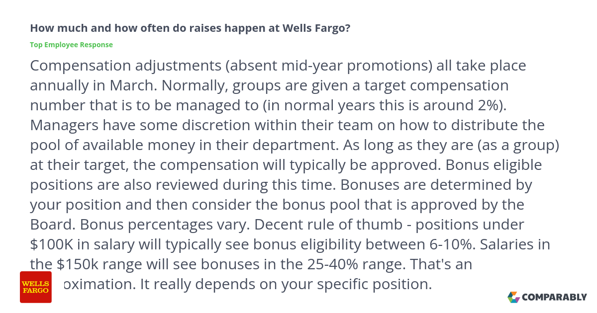How Much And Often Do Raises Happen At Wells Fargo